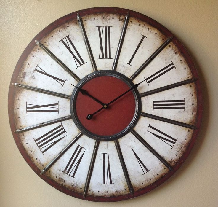 Clock large red brown white black metal roman numeral wall clock 24 clock wall clocks - Large roman numeral wall clocks ...