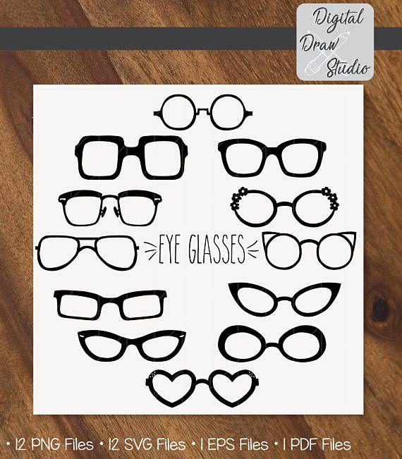 12 Eye Glasses Hand sketch Clip art  Silhouette Eye wear