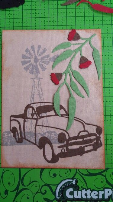 I love this card. I have used my dark room door windmill silhouette stamp. The the new ultimate crafts rusty old ute die and eucalyptus die