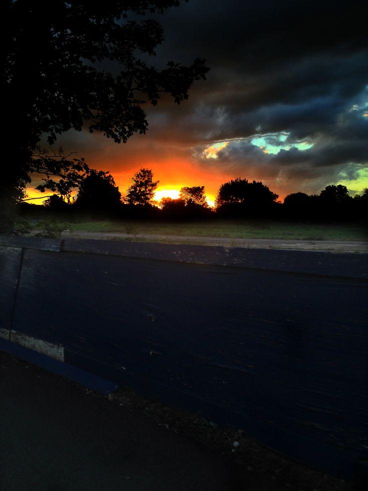 Sunset across deserted land