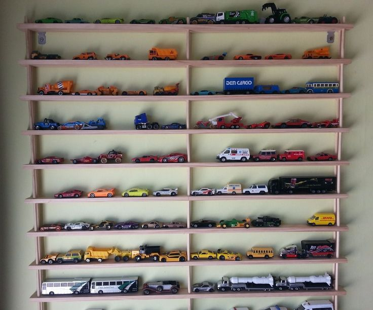 DIY car shelves are much better than a box for storing a big collection! here's how to make them.