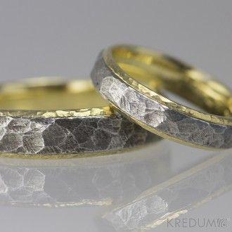 Snubní prsteny nerezová ocel a zlato Cygnus yellow