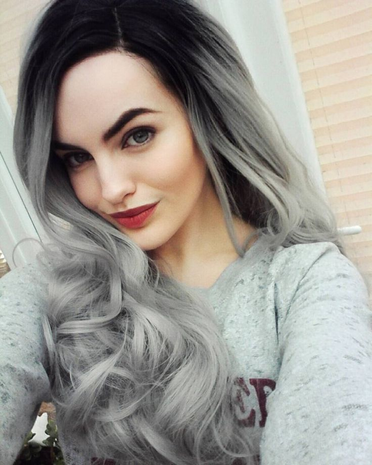 Long Grey Hair Lace Front Curls Ombre Silver Lush Wig - Worldwide Tracked Delivery