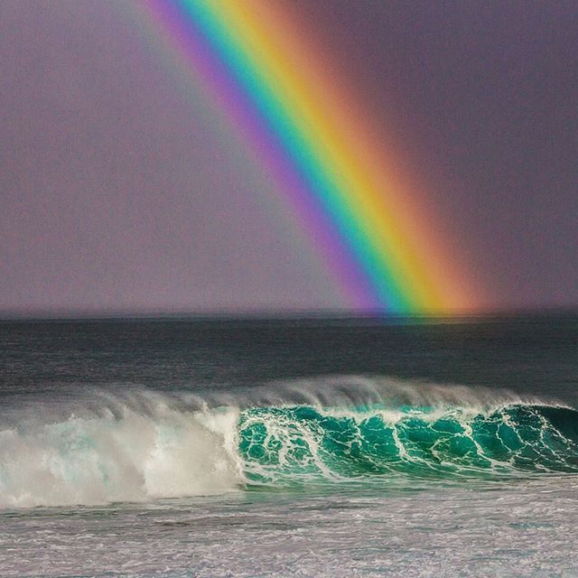 Photograph by @paulnicklen // I have been fortunate enough to see a lot of rainbows while spending so much time out in nature however this one at the Bonzai Pipeline on the North Shore of Oahu Hawaii was perhaps the brightest and most delineated one I have ever seen.  I saw this while standing with @zaknoyle and @cristinamittermeier waiting for a surfing competition to start. #followme on @paulnicklen  #surf #surfing #hawaii #rainbow #pipe #pipeline #bonzaipipeline #smile #adventure #travel…