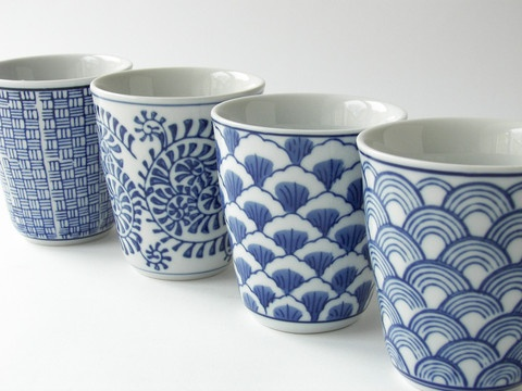 Hand-Decorated Porcelain Tableware: Japanese Graphic Cups.