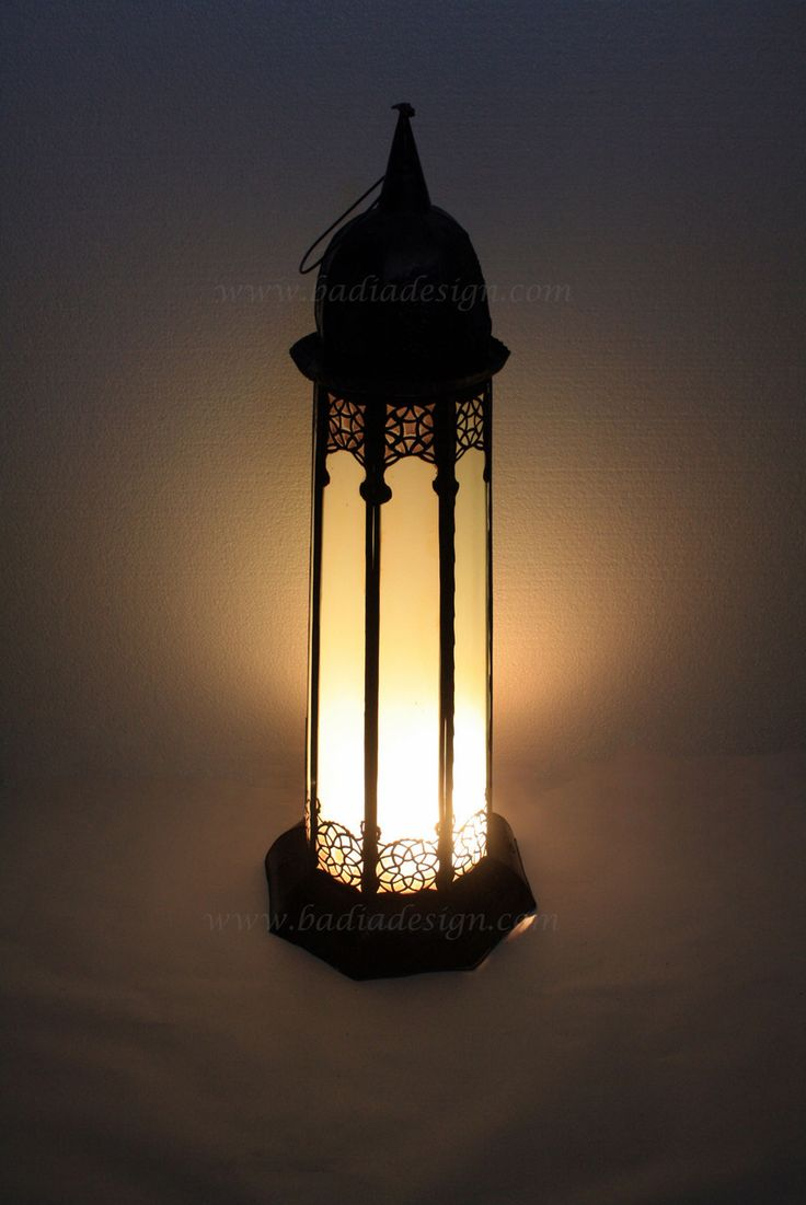 Tabletop Lantern With White Glass