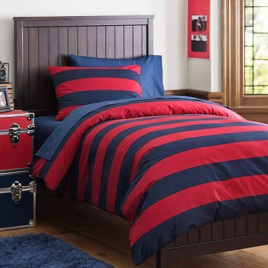 Rugby Stripe Essential Duvet Value Bedding Set Navy Red