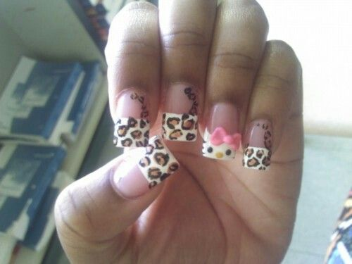 44 best nail designs images on pinterest nail art nail hello kitty n leopard print prinsesfo Choice Image