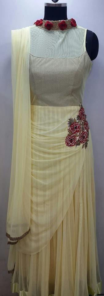 Designer Anarkali Dress Cream Colour Net $68.15