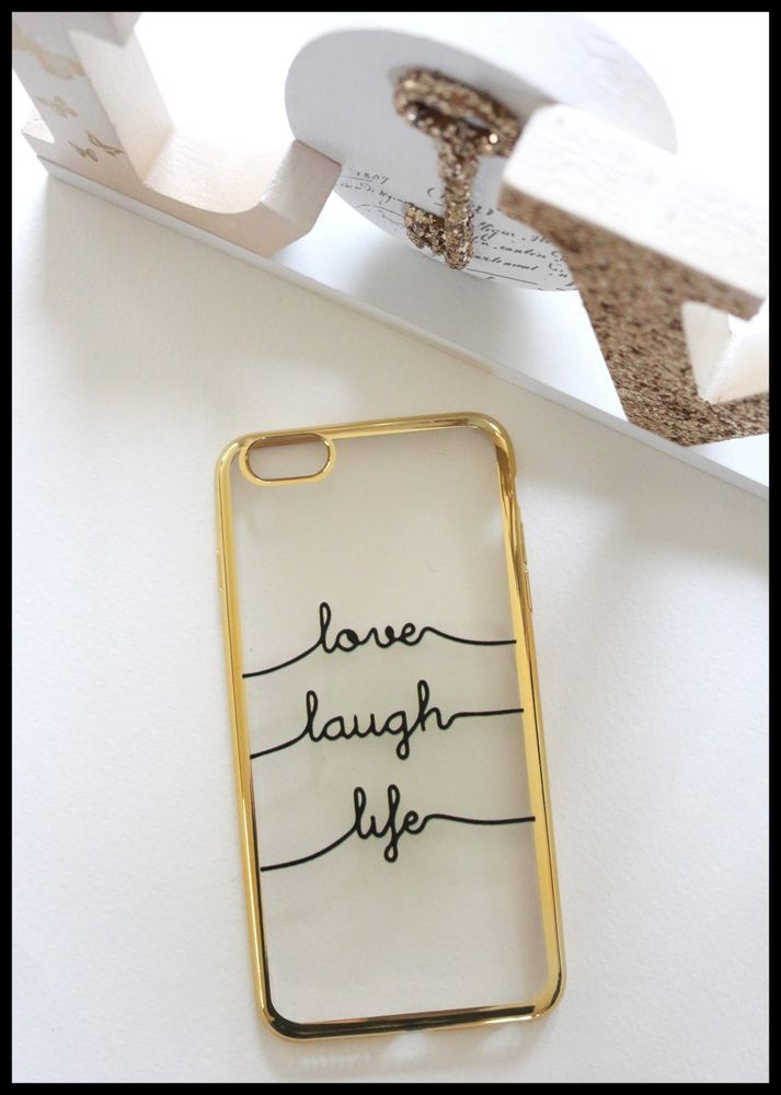 Coque Souple silicone dore or love life laugh iPhone 7 plus + telephone girly