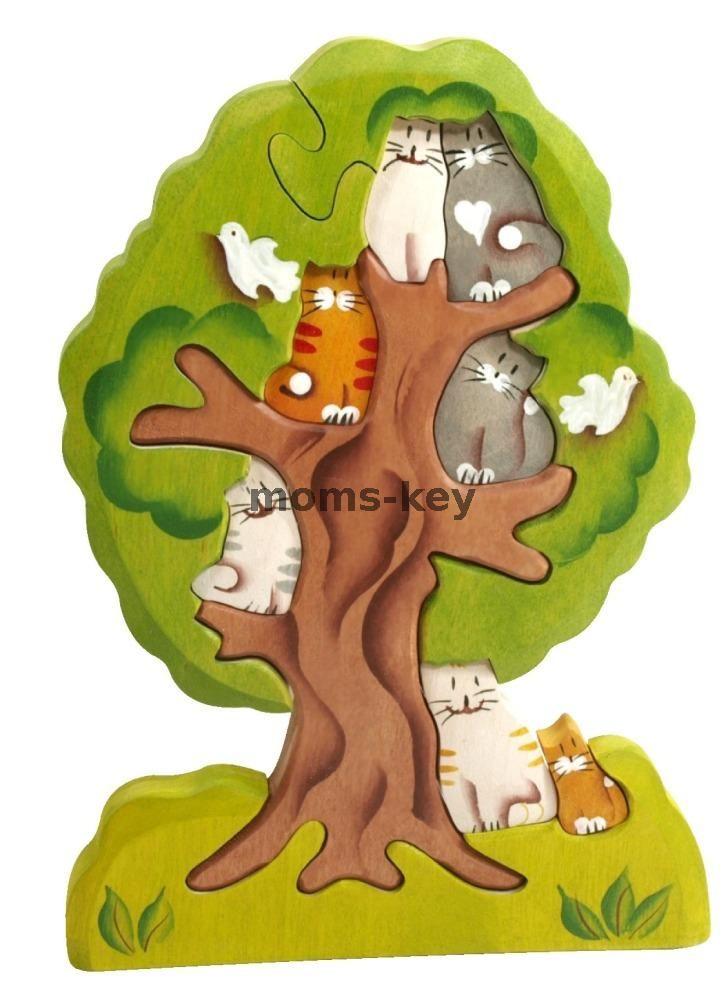 Деревянный пазл Кошки на дереве www.moms-key.ru