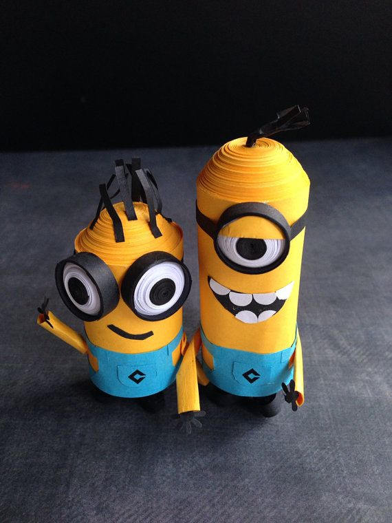3D Paper quill 2 little cute minions by InspiringSilence on Etsy, $35.00. LOVE IT! Oh so very cute. Got to try this when I get better.