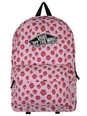 Keep things sweet with this gorgeous backpack from Vans! A great way to brighten up your wardrobe, this fun bag has a soft pink background which is covered in succulent strawberries and is sure to get your taste-buds tingling! Official Merchandise.
