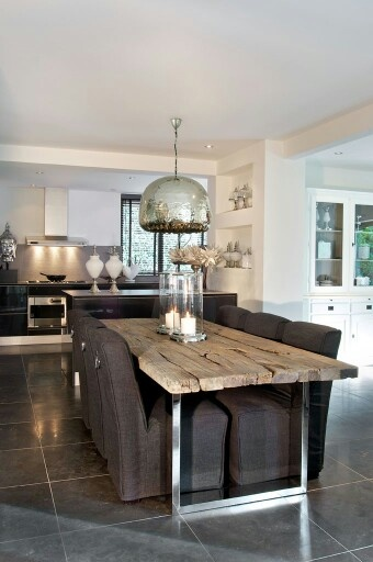 Kitchen with awesome rustic table