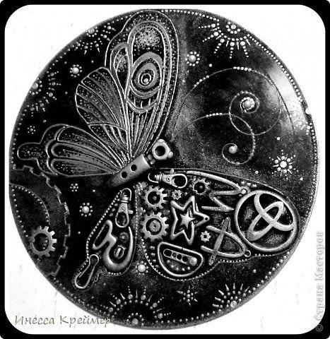 Картина панно рисунок Ассамбляж СТИМПАНК- БАБОЧКА Материал бросовый фото 1