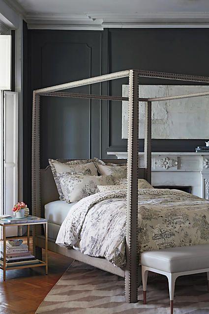Nailhead Linen Bed - anthropologie.com