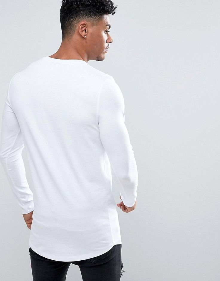 ASOS Super Longline Muscle Long Sleeve T-Shirt With Curved Hem In Whit