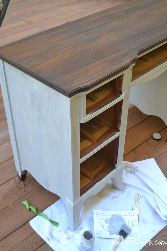 Two Toned Chalk Paint Vintage Desk Redo
