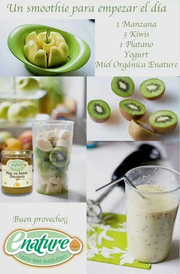Licuado manzana, kiwi y plátano