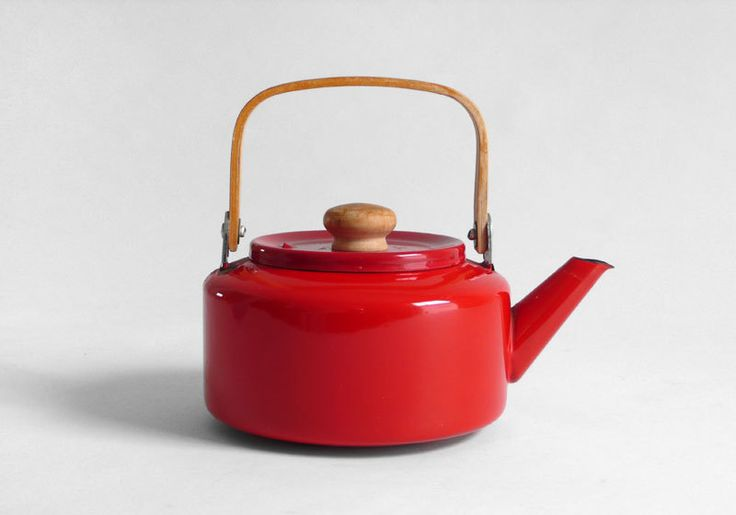 Vintage Red Teapot - Mid Century, Modern, Retro, Kettle, Wood. From Hindsvik.  etsy.com