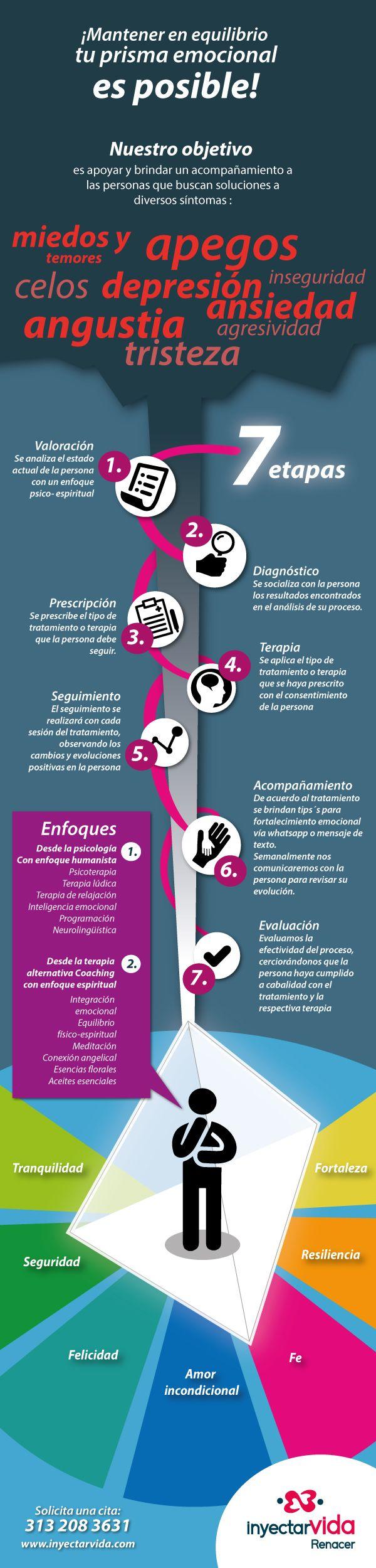 Infografia sobre terapia psicologica y ayuda en general / Cliente InyectarVida