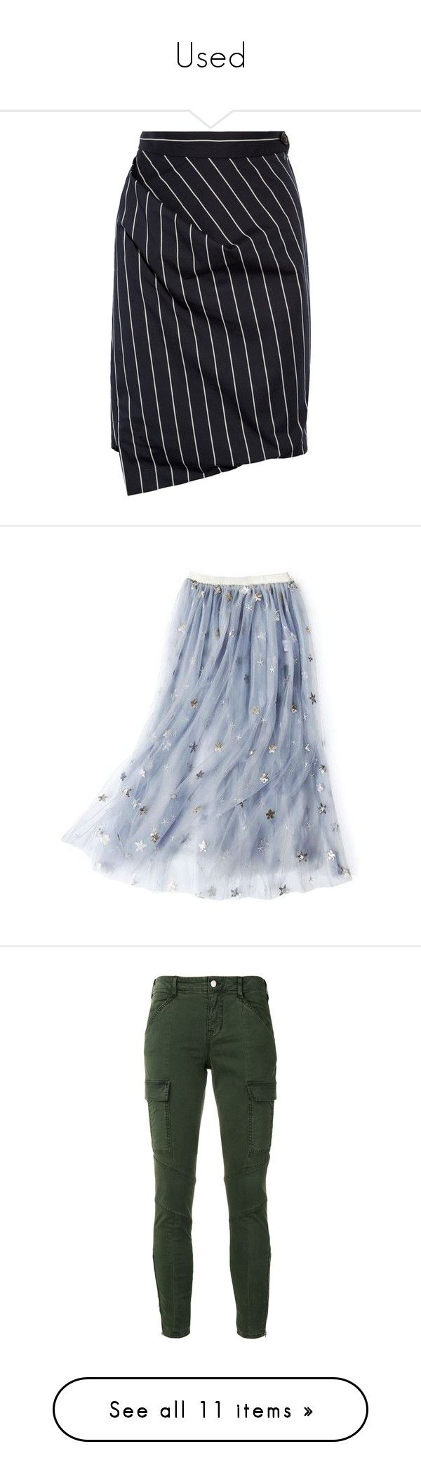 """""""Used"""" by martesaltroo on Polyvore featuring skirts, bottoms, vivienne westwood, saias, navy, navy knee length skirt, navy striped skirt, navy blue knee length skirt, blue striped skirt and navy blue pleated skirt"""