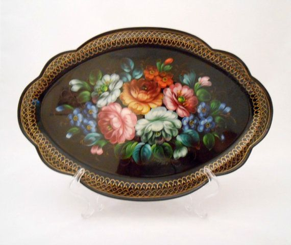 Beautiful Tole Ware Tray Artist Signed Russian Style by my3luvbugs