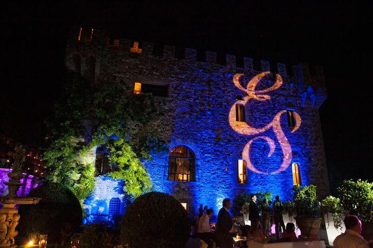 ALMA PROJECT @ Castello di Vincigliata - Facade lighting - Initials projection - party lighting - David Bastianoni Photo