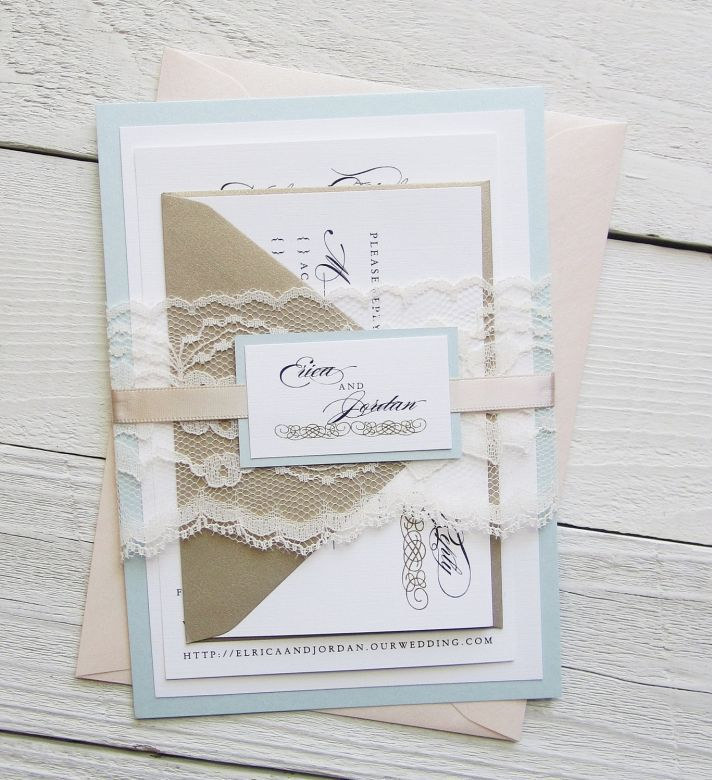 real simple unique wedding invitations%0A gorgeous invites with lace belly band