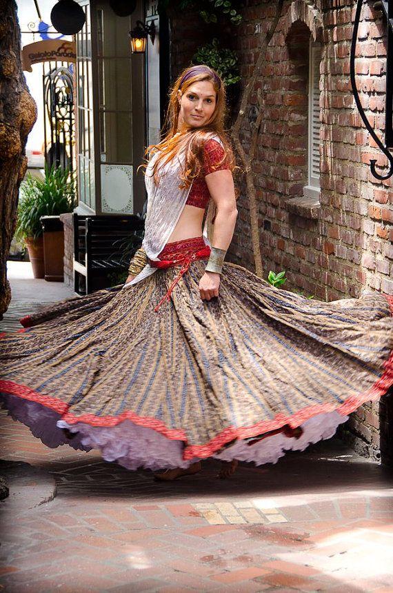 Indian Ikat Ethnic Gopi Skirt Great for Belly by GopiSkirts
