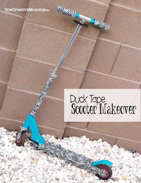 Duck Tape Scooter Makeover from OneCreativeMommy.com {Dont throw away that faded scooter. Give it a fresh new look with duck tape! This scooter went from Barbie to all grown up!}