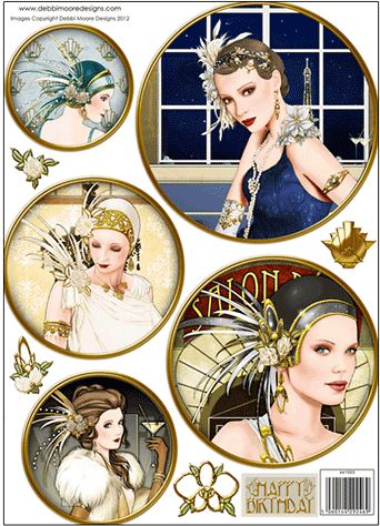 Debbi Moore Designs - Die Cut Art Deco toppers - Circles