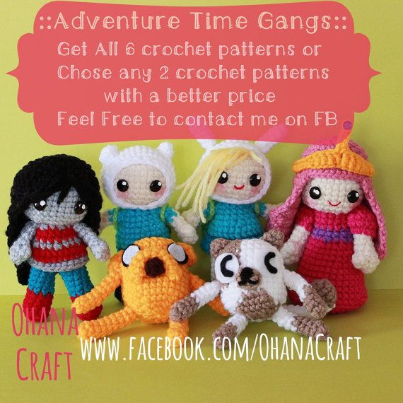 Adventure Time Gangs crochet PDF patterns by OhanaCraftAmigurumi, $8.00