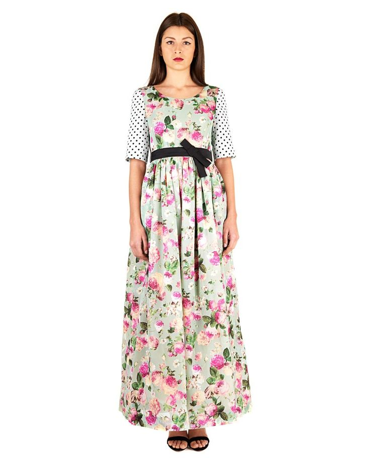 ANTONIO MARRAS Multicolor long dress  boat neck sleeved polka dot floral print front and back elegant waistband Pleated front and back zipper on the back 50% PL 50% VI 47% PL 28% VI 25% PA Lining: 50% PL 50% VI