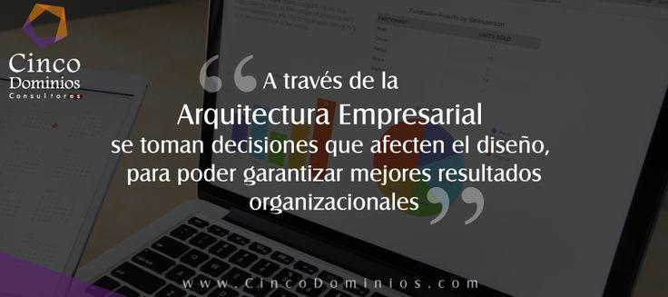 A través de la Arquitectura Empresarial se toman decisiones que afecten el diseño, para poder garantizar mejores resultados organizacionales. Conozca más de #ArquitecturaEmpresarial: goo.gl/P9VBAZ