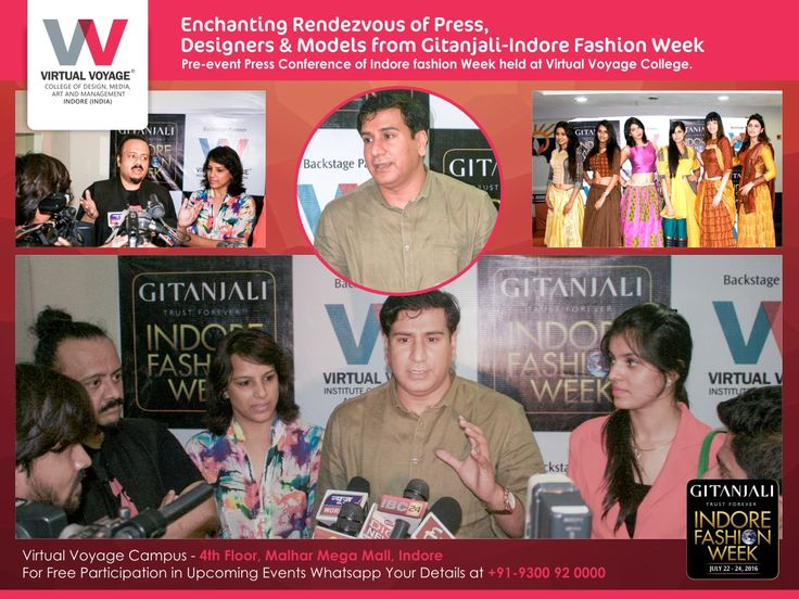 Since Virtual Voyage College not just preaches the Profession in Fashion It also gives you to opportunity to begin your career in it, meet people, explore the industry… Here is the glimpse how? A Glittery evening at VVC, with Press Conference of Gitanjali Indore Fashion Week-2016
