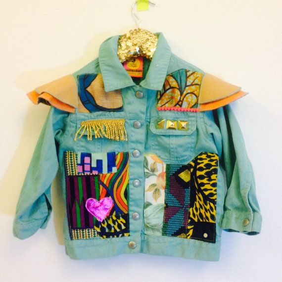 Kids Denim Jacket Toddler Upcycled with African fabric Pom Pom Trim 4-5 Years