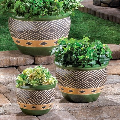 Lush shades of sand and jade add natural elegance to your favorite plants, showing them off to stunning effect! Coordinating pots in three separate sizes create an effortless designer look. Drain hole at bottom of each pot.