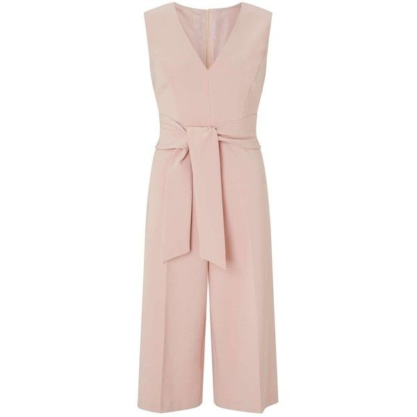 Miss Selfridge PETITE Tie Culotte Jumpsuit (145 BRL) ❤ liked on Polyvore featuring jumpsuits, nude, petite, petite jumpsuit, tie jumpsuit, jump suit, pink jumpsuits and miss selfridge
