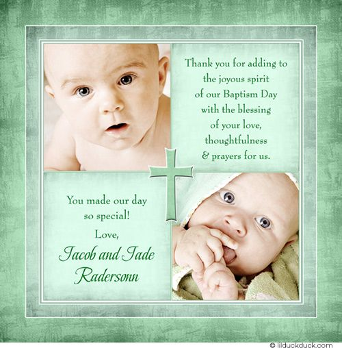 Personalized Christening Thank You Card Photos Notes