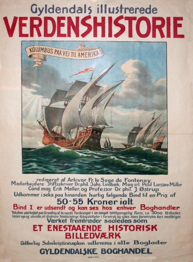 Det er da ellers billigt, for den samlede, illustrerede verdenshistorie!    Original retro-plakat fra Forlaget Gyldendals gemmer.