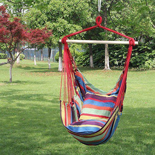 Amazon.com: Sorbus cuerda colgando asiento de la silla hamaca oscilación de todos los espacios interiores o exteriores: Patio, césped y jardín