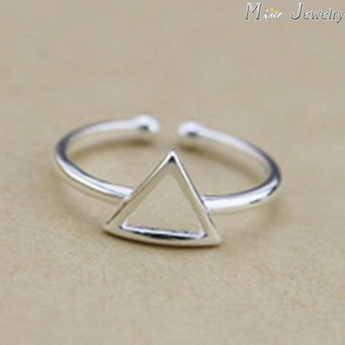 New Arrivals 925 Sterling Silver Rings Silver Geometric Triangle Ring Open Rings For Girl Women Gift Jewelry
