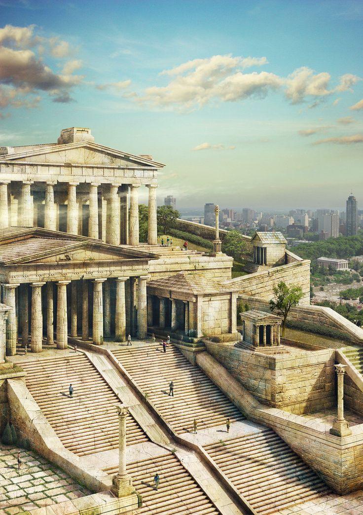 The Acropolis of Athens, Evgeny Kazantsev on ArtStation at https://www.artstation.com/artwork/v2Qvv