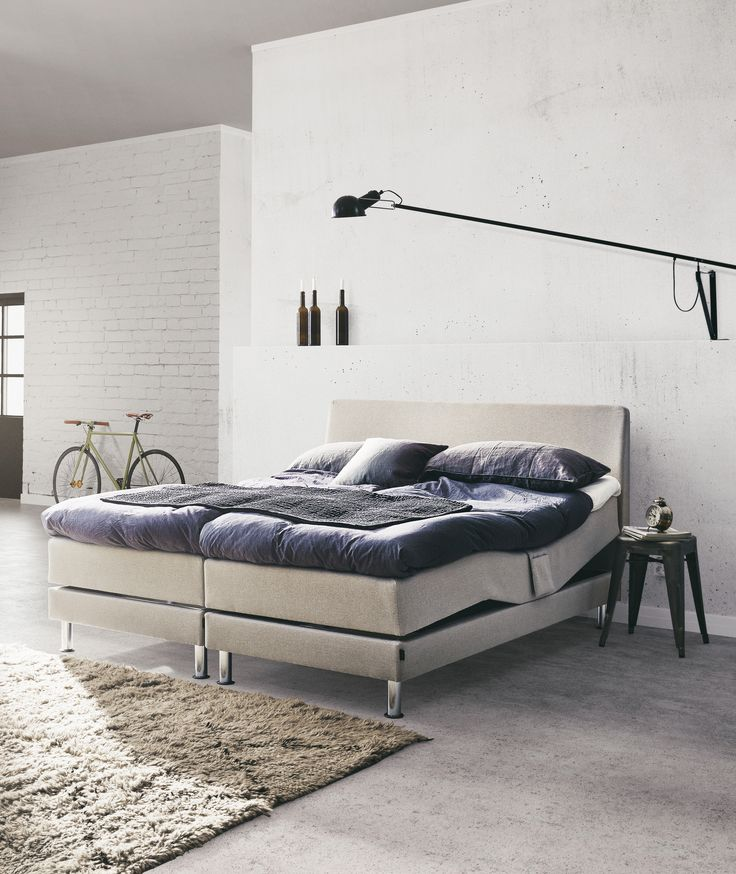 Jensen Aqtive I Adjustable bed has a powerful motor with an emergency lowering function that can be activated in the event of a power cut. The reversible mattress is attached to the bed frame, for a sleek look.
