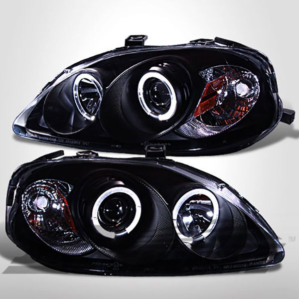 DUAL HALO PROJECTOR HEADLIGHTS BLACK - HONDA CIVIC 99-00