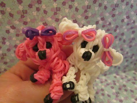 Rainbow Loom Poodle Dog or Puppy Charm. 3-D. Single Loom.