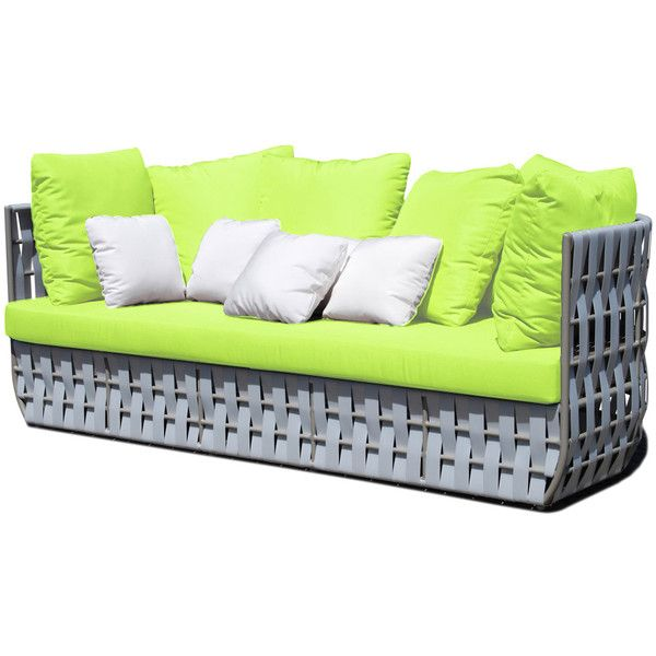 Skyline Design Strips Sofa Lime w/Cushion Liner ($4,015) ❤ liked on Polyvore featuring home, outdoors, patio furniture, green, outdoor patio loveseat, contemporary patio furniture, contemporary outdoor furniture, woven patio furniture and waterproof outdoor furniture