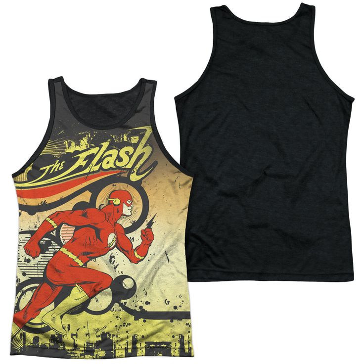 DC/JUST PASSING THROUGH-ADULT POLY TANK TOP BLACK BACK-WHITE-SM