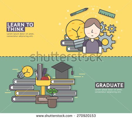 Set of Flat Line banner Design Concept for Education , Learn to Think , Graduation / Website Banner / Banner / Element / Vector Design